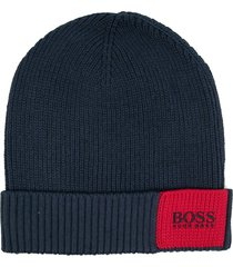 boss arebo ribbed knit beanie - blue