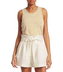 frame women's linen striped tank top - marigold multi - size xs