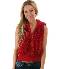 fun sexy hooded reversible knit/faux fur vest by rock revolution 3 color choices