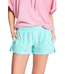 women's pj salvage beach bound terry shorts, size x-small - blue/green