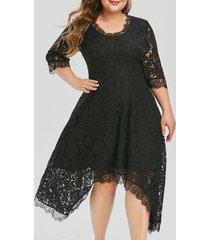 plus size lace handkerchief party dress