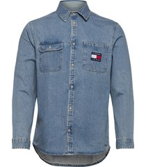 tjm denim badge shirt overhemd casual blauw tommy jeans