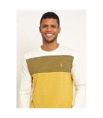 camiseta aleatory listrada manga longa max masculina
