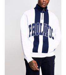 river island mens prolific white block half zip sweatshirt
