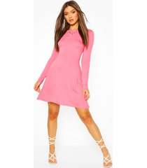 cut out back puff sleeve skater dress, coral