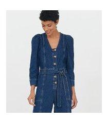 macacão jeans com manga bufante e cinto faixa | marfinno | azul | m