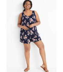 maurices plus size womens 24/7 navy floral drawcord pocket sleeveless romper blue