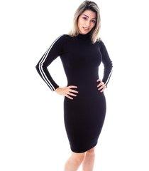 vestido moda vicio gola alta manga longa com faixas preto
