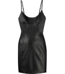 alexander wang fitted leather short dress - black