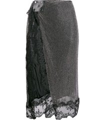christopher kane crystal mesh skirt - metallic