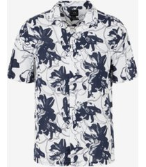 ax armani exchange men's short sleeve hibiscus floral shirt