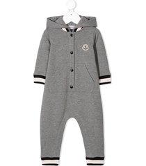 moncler enfant side stripe hooded romper - 987 grigio