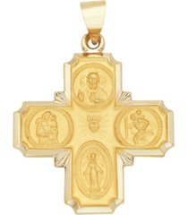 4-way medal cross pendant in 14k yellow gold