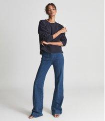 reiss brooke - relaxed loungewear sweatshirt in navy, womens, size l
