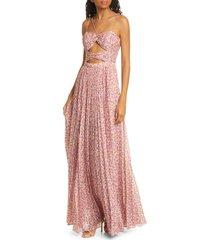 women's amur lana floral print cutout bodice maxi dress, size 00 - pink