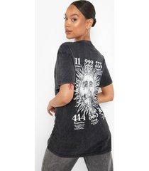 acid wash gebleekte angel numbers t-shirt, charcoal