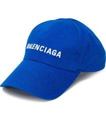 balenciaga embroidered logo baseball cap - blue