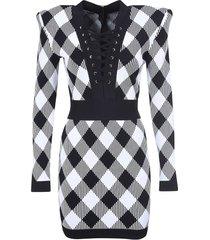 balmain tie front checked dress