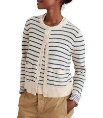 alex mill stripe honey cardigan, size medium in ivory/blue at nordstrom