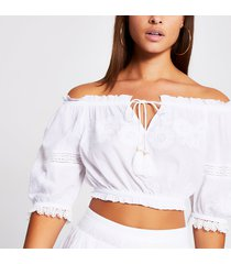 river island womens white embroidered bardot beach crop top