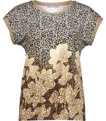 geisha top sand sand, black & golden brown printed