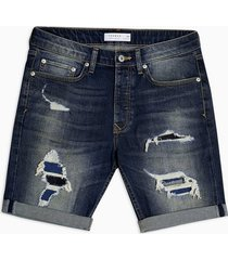 mens blue dark wash rip and repair stretch skinny shorts