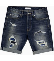 mens blue dark wash ripped and repair skinny shorts