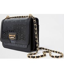 river island womens black ri embossed satchel bag