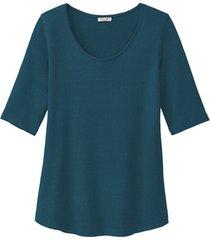 shirt met korte mouwen van bourette zijdenjersey, petrol 40/42