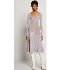 proenza schouler patchwork knit dress white/khaki l