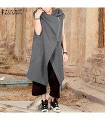 zanzea mujeres sin mangas de la rebeca largos de la capa de abrigo con capucha bolsillos coats -gris