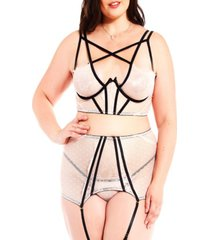plus size clementine exotic strappy dotted mesh bralette, garter and panty set, 3 piece