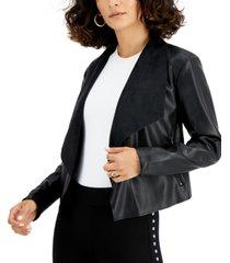 bar iii faux-leather flyaway jacket, created for macy's