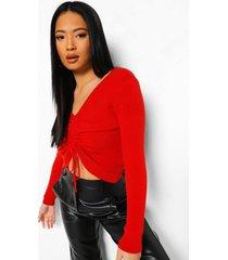 petite zachte gebreide geplooide trui, rood