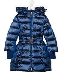 monnalisa teen belted padded coat - blue