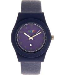 crayo unisex dazzle navy genuine leather strap watch 37mm