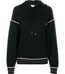 barrie embroidered detail hoodie - black