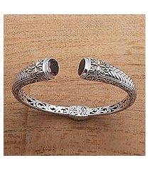 gold accented garnet cuff bracelet, 'maroon jungle' (indonesia)