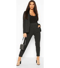 pinstripe tailored blazer & trouser co-ord suit, black