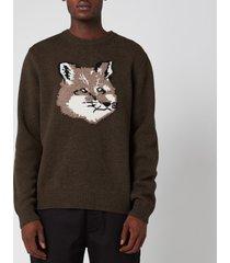 maison kitsuné men's fox head pullover jumper - light khaki - m