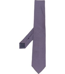 emporio armani micro-geometric woven tie - blue