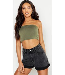 basic jersey bandeau top, kaki