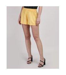 short feminino cintura média amarelo