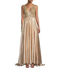 mac duggal women's deep v-neck embellished gown - gold - size 12
