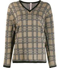 antonio marras plaid knit sweater - neutrals
