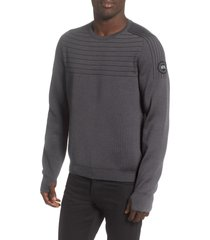 men's canada goose conway crewneck merino wool blend sweater, size medium - grey