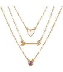 """rachel rachel roy gold-tone 3-pc. set heart, arrow & stone pendant necklaces, 17"""" + 2"""" extender"""