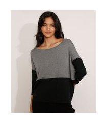 blusa ampla básica com recorte manga 7/8 decote redondo cinza mescla