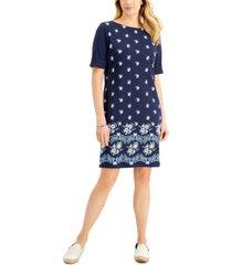 karen scott petite printed t-shirt dress, created for macy's