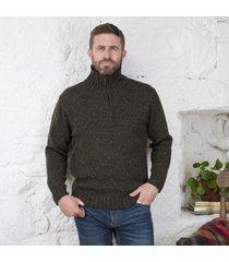 donegal wool irish zipper sweater green medium